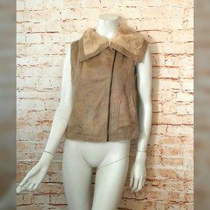 Olive & Oak S Tan Moto Style Vest Asymmetrical